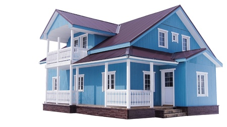 immobile: Casa azul sobre fondo blanco