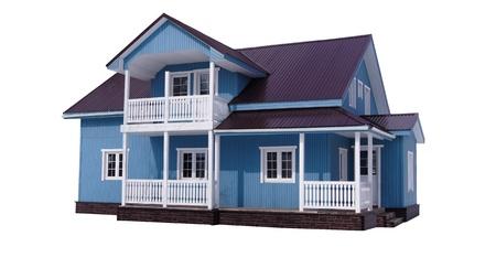 house: Blauwe huis op wit