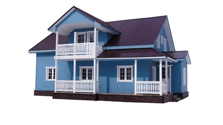 Blue house on white Stock Photo - 13372893