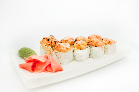 sushi roll platted on a white plate