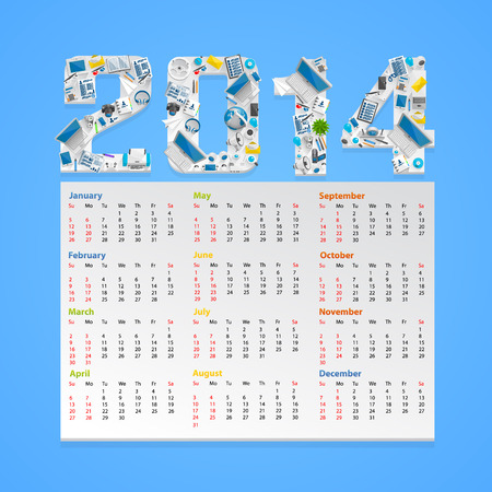 Calendar 2014 in a flat style. Vector illustration Vector