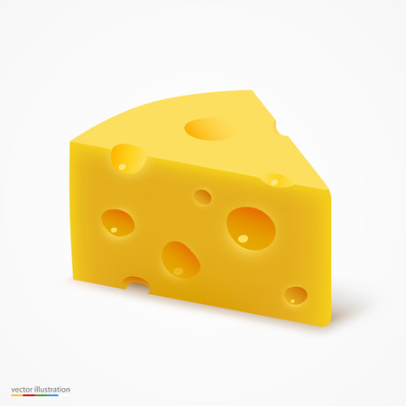 Triangular piece of cheese. Vector illustration art Çizim