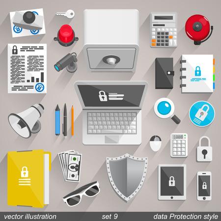 signaling: Vector data Protection style. set 9 illustration art