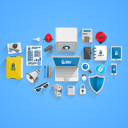 data protection: Vector data Protection style. illustration art icon
