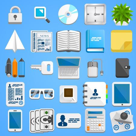 Flat icon set business. Vector illustration art Vector