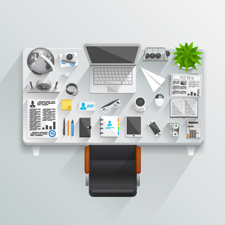 Flat business table style. illustration art icon Vector
