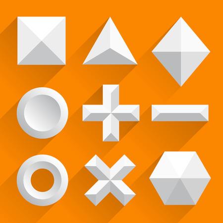 three dimensional shape: Polygonal shapes vector white. Vector illustration art