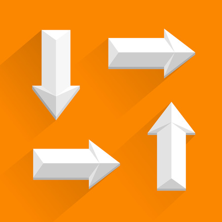 downgrade: Vector white arrows different directions  white background