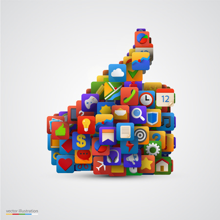 Duim silhouet met veel applicatie-iconen. Vector illustratie Stock Illustratie