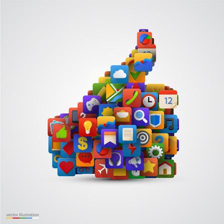Thumb silhouette avec de nombreuses icônes d'application. Vector illustration