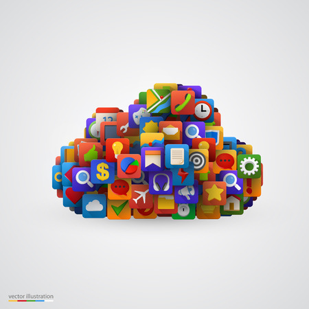 Cloud with many application icons. Vector illustration Vector