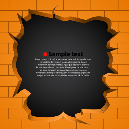 hole in the wall: Hole in the broken wall. Vector illustration
