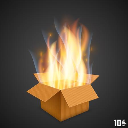 burning paper: Box of fire art paper. Vector illustration