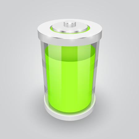 Vector glass battery symbol illustration. Full charge Vector