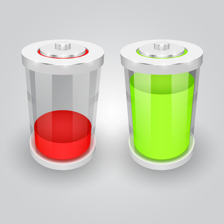 low glass: Vector glass battery symbol illustration. Low and full Illustration