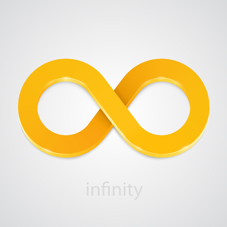 mobius symbol: Abstract infinity gold sign isolated on white. Vector illustration