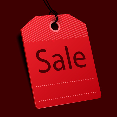 Red price tag. Sale concept. Vector illustration