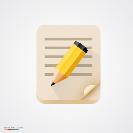 lapiz y papel: Cuaderno con el icono de l�piz amarillo. Ilustraci�n vectorial Vectores