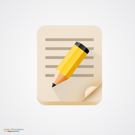 pencil: Notebook with yellow pencil icon. Vector illustration
