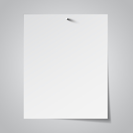 paper pin: White paper attached with nail. Vector illustration Illustration