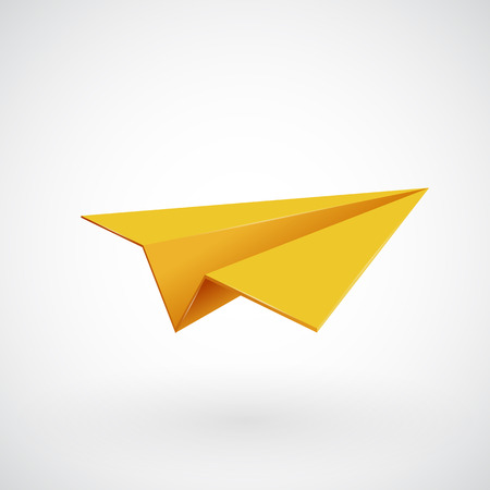 Yellow paper airplane. Isolated on white. Vector illsutration