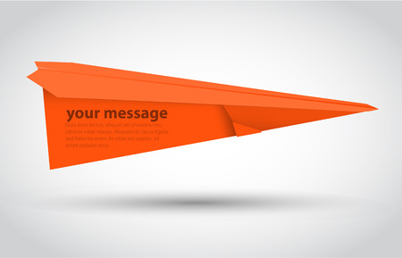 illsutration: Orange paper airplane. Isolated on white. Vector illsutration