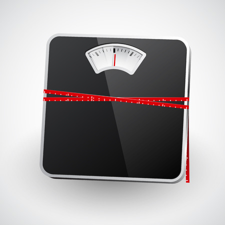 measuring tape: A bathroom scale with a measuring tape. Vector illustration
