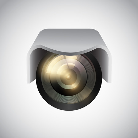 oversight: Vector CCTV camera on white background. Vector illustration