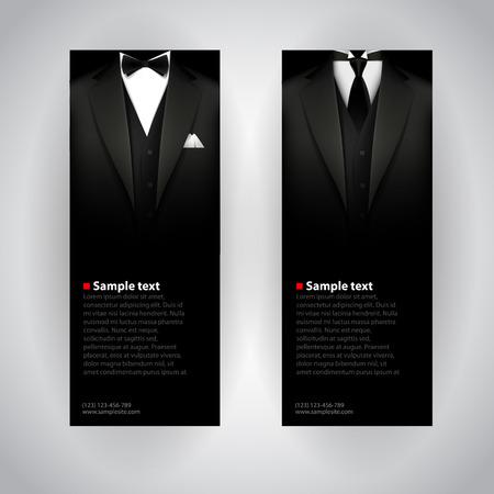 traje formal: Tarjetas de visita del vector con elegante traje y esmoquin.