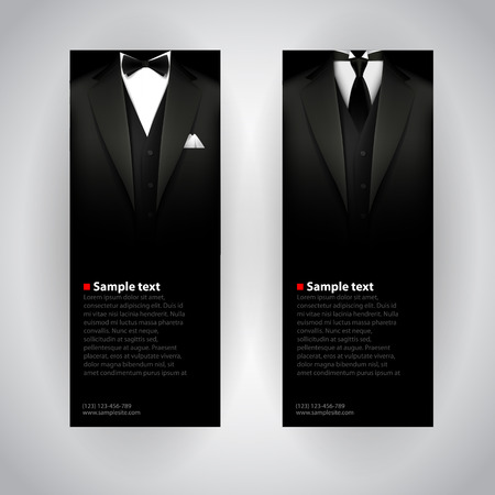 gentleman: Vector business cards with elegant suit and tuxedo.