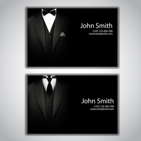 hombres ejecutivos: Tarjetas de visita del vector con elegante traje y esmoquin.