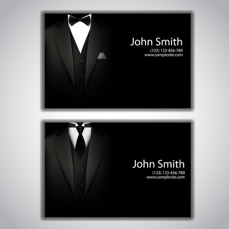 name calling: Vector business cards with elegant suit and tuxedo.