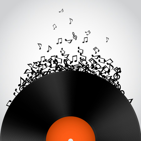Abstract music background. Vinyl disk. Vector illustration