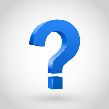 signo de interrogacion: Signo de interrogación azul, aislado en blanco. Ilustración vectorial Vectores