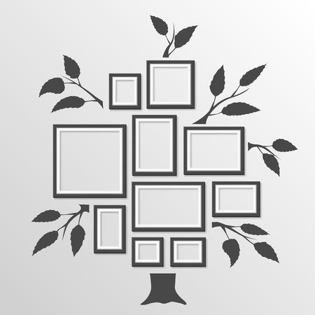 Tree with frames art foto. Vector illustration