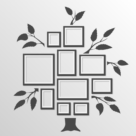 photo paper: Tree with frames art foto. Vector illustration