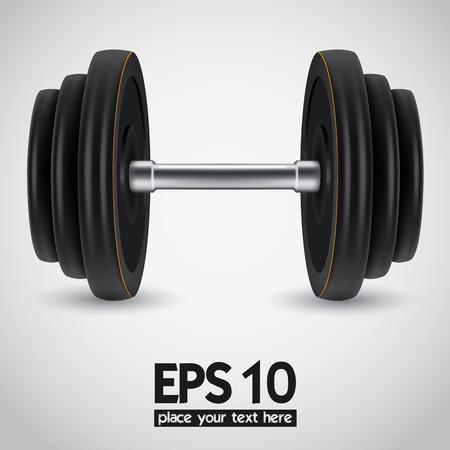 powerlifting: Black realistic dumbbell on white background. Vector illustration