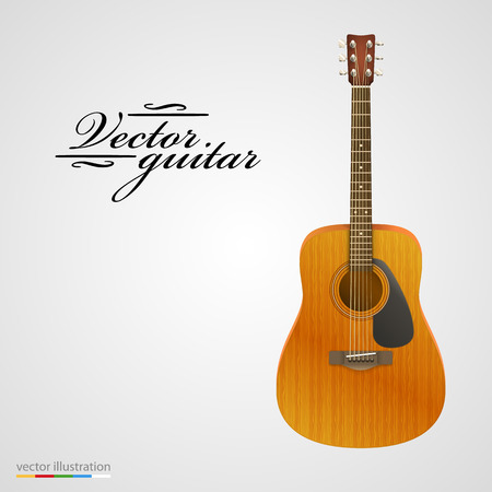fretboard: Isolated on white acoustic guitar. Vector illustration Illustration