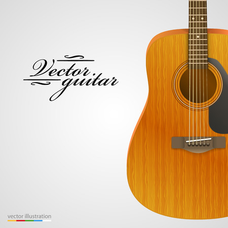 fretboard: Acoustic wooden guitar bright background. Vector illustration.