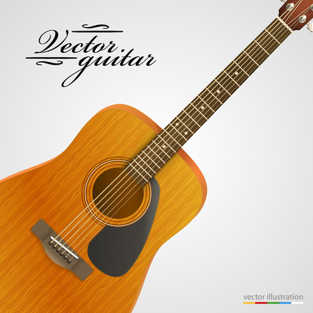 acoustical: Acoustic wooden guitar bright background. Vector illustration.
