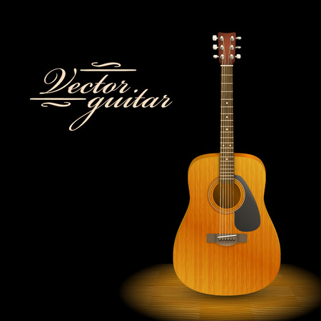fretboard: Music concept. Acoustic guitar standing under beam of light. Vector illustration