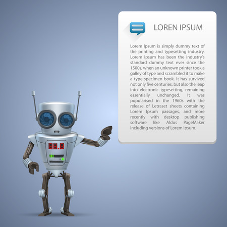 Vector metal robot advert character. illustration art 10eps Vector