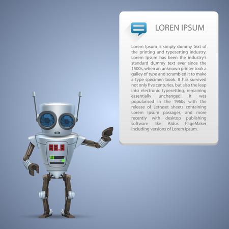 Vector metal robot advert character. illustration art 10eps