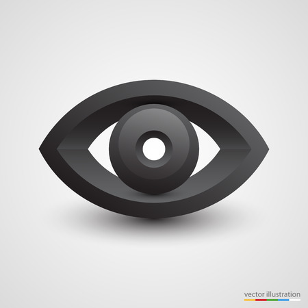 black eye: Three-dimensional black eye on white background. Vector illustration Illustration