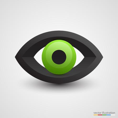 eye green: Ojo verde tridimensional sobre fondo blanco. Ilustraci�n vectorial