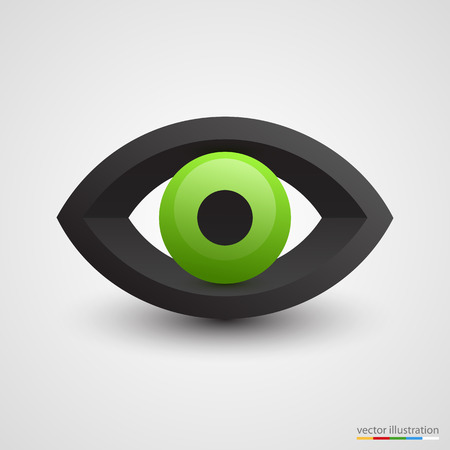 green eye: Three-dimensional green eye on white background. Vector illustration