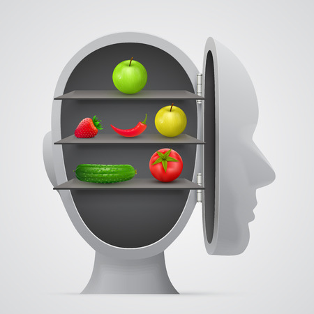 Vegetables inside head. Vegetarian concept. Vector illustration