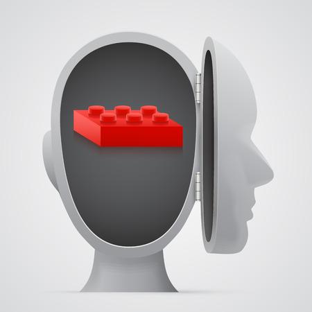 logica: Bloquear dentro de la cabeza abierta. Concepto Logic. Ilustración vectorial