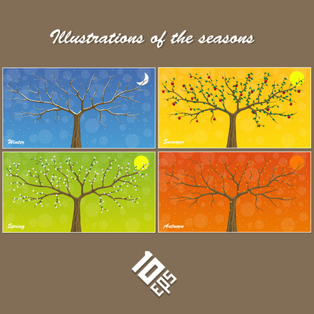 suspended: Seasons are suspended on clothespin. Vector Illustration Illustration