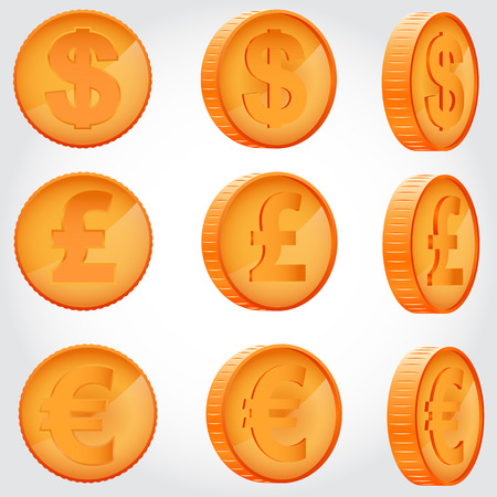 angles: Coin of dollar, euro and pound sterling in different angles